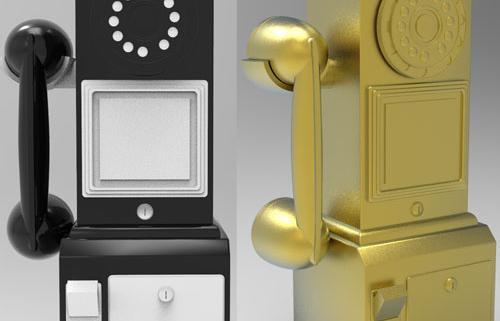 нарисовать 3d модель, создание 3d модели, золотой таксофон, золотой сувенир, золотая статуэтка